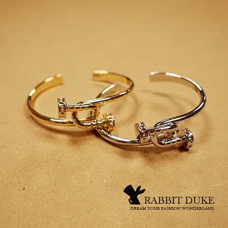【Rabbit Duke】現貨 經典歐美風格 個性名品雙釘子交錯設計鑲鑽手環