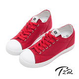 【T2R】百搭帆布隱形氣墊增高鞋 紅 ↑7cm 5600-0055