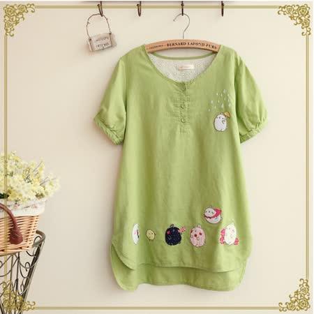 【Maya Collection森林系】夏季小肥兔與咕咕雞玩耍time 短袖棉麻上衣