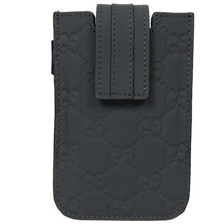 GUCCI  皮革壓紋I PHONE 4手機套(深灰)