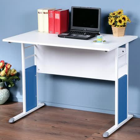 《Homelike》巧思辦公桌 亮白系列-白色仿馬鞍皮100cm