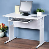 《Homelike》巧思辦公桌 亮白系列-白色仿馬鞍皮100cm(附鍵盤)