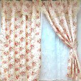 【愛之心】寬400CMx高240CM(二用穿掛式)高級(雙層)印花遮光-落地窗簾-粉色