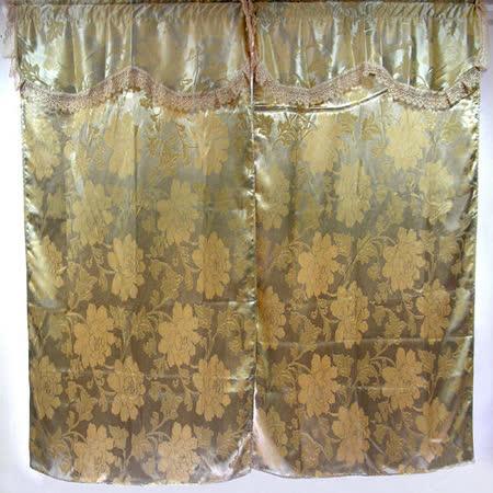 【大牡丹】寬200CMx高165CM半腰(二用穿掛式)高級(雙層)遮光窗簾-金色