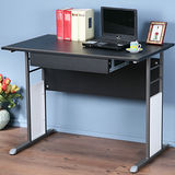 《Homelike》巧思辦公桌 炫灰系列-黑色仿馬鞍皮100cm(附抽屜)