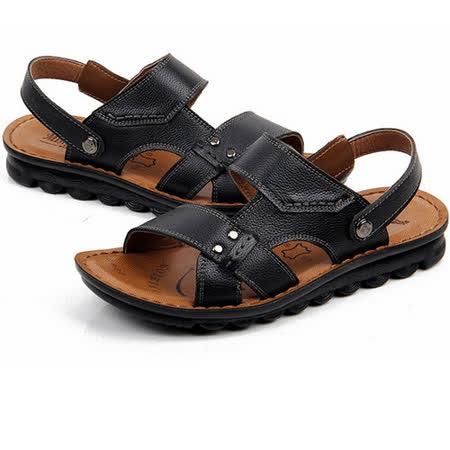 【RAKASO涼鞋】款8890墨黑真皮牛皮包頭露趾拖鞋人字拖海灘鞋沙灘鞋夾腳拖水陸兩用pangunoRAKASO諾喀索