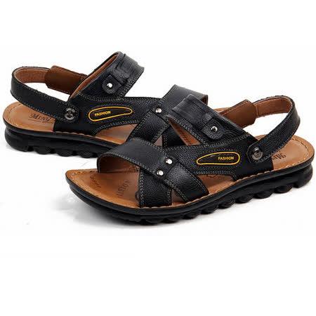 【RAKASO涼鞋】款8897墨黑真皮牛皮包頭露趾拖鞋人字拖海灘鞋沙灘鞋夾腳拖水陸兩用pangunoRAKASO諾喀索