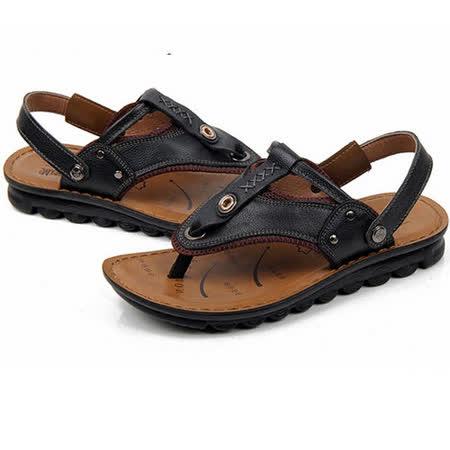 【RAKASO涼鞋】款9083墨黑真皮牛皮包頭露趾拖鞋人字拖海灘鞋沙灘鞋夾腳拖水陸兩用pangunoRAKASO諾喀索