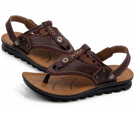 【RAKASO涼鞋】款9083紅棕真皮牛皮包頭露趾拖鞋人字拖海灘鞋沙灘鞋夾腳拖水陸兩用pangunoRAKASO諾喀索