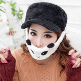 【PS Mall】男女卡通熊貓口罩絨毛棒球帽(J177)