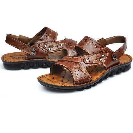 【RAKASO涼鞋】款9888紅棕真皮牛皮包頭露趾拖鞋人字拖海灘鞋沙灘鞋夾腳拖水陸兩用pangunoRAKASO諾喀索