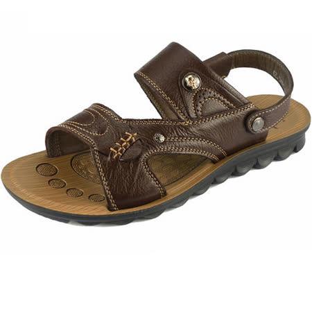 【RAKASO涼鞋】款ZBPX11深棕真皮牛皮包頭露趾拖鞋人字拖海灘鞋沙灘鞋夾腳拖水陸兩用pangunoRAKASO諾喀索
