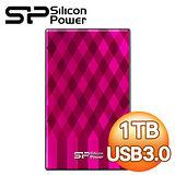 Silicon Power 廣穎 Diamond D10 1TB 2.5吋 USB3.0 行動硬碟《格紋粉》