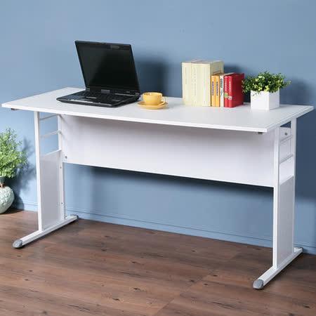 《Homelike》巧思辦公桌 亮白系列-白色仿馬鞍皮140cm