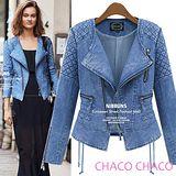 預購【CHACO韓國】雙肩格紋斜側拉鍊個性修身牛仔外套*藍色S/M/L