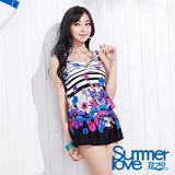 【SUMMERLOVE 夏之戀】時尚幾何長版兩件式泳衣S14710