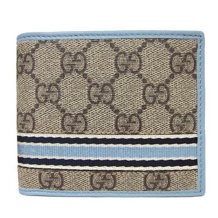 【網購】gohappy線上購物GUCCI PVC雙色直紋短夾(卡其藍)去哪買遠 百 桃園 店