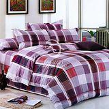 【紳士品格】加大全舖棉四件式兩用被床包組