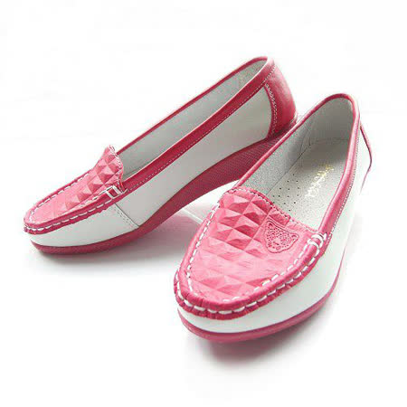 【Moscova】手工真皮系列。舒適百搭菱格坡跟鞋-紅白色