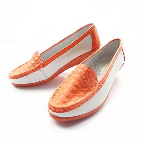 【Moscova】手工真皮系列。舒適百搭菱格坡跟鞋-橘白色