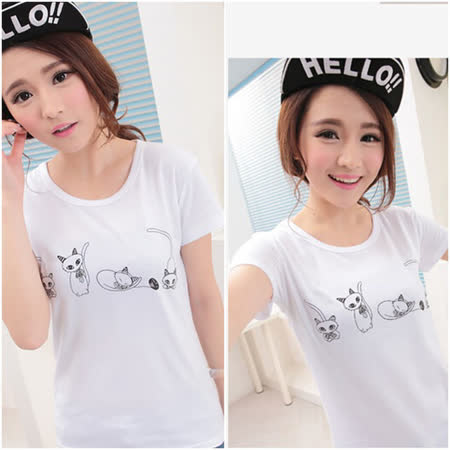 【Maya Collection森林系】夏天的貓咪玩耍 Time 拼接蕾絲白色T恤