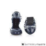 BUTTERFLY TWISTS - KATE可折疊扭轉芭蕾舞鞋-藍條紋/白