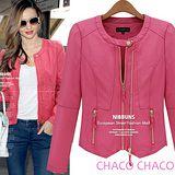 預購【CHACO韓國】單釦圓領雙拉鍊造型修身短版皮衣外套(粉色M/L)