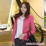 預購【CHACO韓國】搶眼單釦圓領雙拉鍊造型修身長袖短版皮衣外套(粉色M/L)