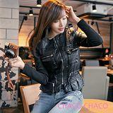 預購【CHACO韓國】軍裝感口袋流蘇造型束腰長袖皮衣外套*黑色M/L/XL