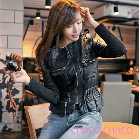 預購【CHACO韓國】OZAMA軍裝感口袋流蘇造型束腰長袖皮衣外套*黑色
