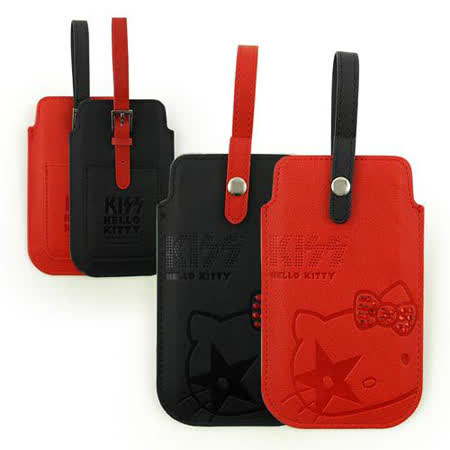 KISS HELLO KITTY 4.7吋通用水鑽壓紋針扣提帶皮革手機袋