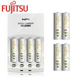 SANYO三洋 智慧型極速充電組(內附Fujitsu 富士通3號充電電池4入+4號4入)【贈電池收納盒】