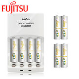 SANYO三洋 智慧型極速充電組(內附Fujitsu 富士通4號充電電池8入)【贈電池收納盒】