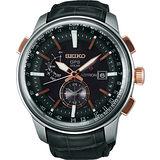 SEIKO ASTRON GPS 太陽能萬年曆世界時間腕錶-黑 7X52-0AK0O