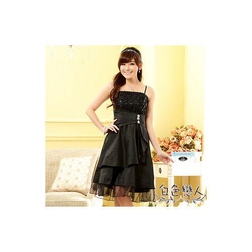 【白色戀人中大尺碼】黑色亮鑽飾扣平口小晚禮服