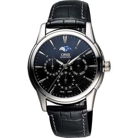 Oris Artelier藝術家多功能月相盈虧機械腕錶-黑 0158276894054-0752171FC