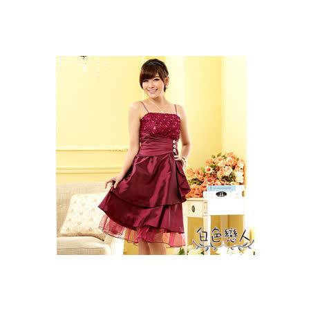 【白色戀人中大尺碼】紫紅色亮鑽飾扣平口小晚禮服