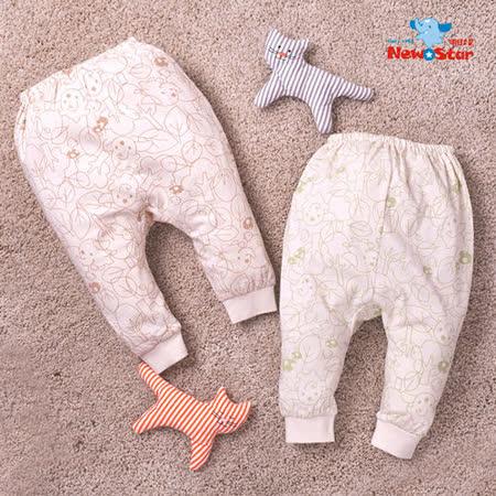 【聖哥-明日之星】薄-有機棉~新生兒長褲l嬰兒長褲(碎花)藍色 粉紅色 綠色 咖啡色、3M 6M