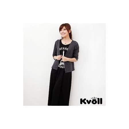 【KVOLL中大尺碼】巴黎鐵塔罩衫+背心二件式長洋裝