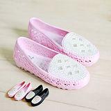 【Pretty】壓克力鑽簍空樂福雨鞋-粉紅/黑色