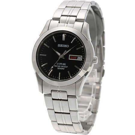 SEIKO 經典藍寶石水晶鏡面鋼帶錶-黑 7N43-0AR0D