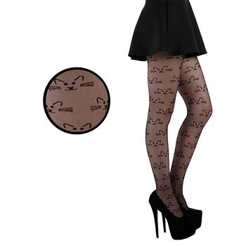 【摩達客】英國進口義大利製Pamela Mann 貓咪鬍子圖紋半透明絲襪網襪彈性褲襪