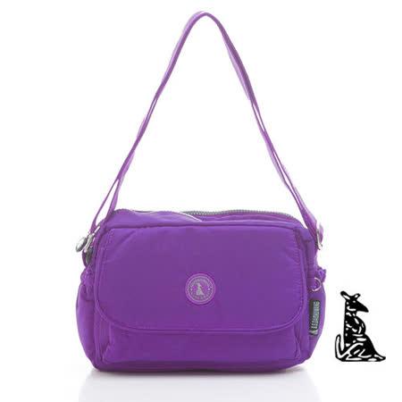 冰山袋鼠 - 輕盈系防水大口袋隨身多隔層側背包-新紫