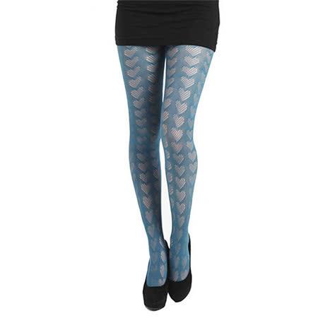 【摩達客】英國進口義大利製Pamela Mann 點點心形藍綠圖紋網襪絲襪彈性褲襪