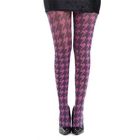 【摩達客】英國進口義大利製Pamela Mann 粉紅千鳥格紋彈性絲襪褲襪