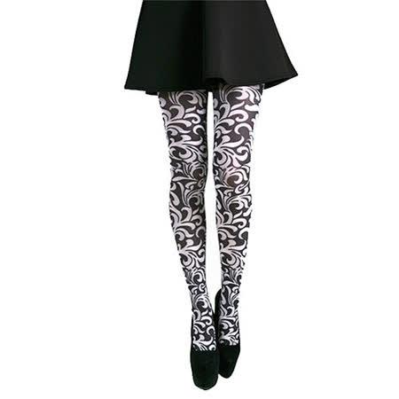 【摩達客】英國進口義大利製Pamela Mann Henna黑白花圖紋彈性絲襪褲襪