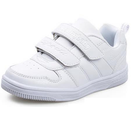 【Hostingbaby小寶當家】X7162全白童鞋男童兒童白色運動鞋女童白波鞋真皮頭防滑板鞋韓版潮