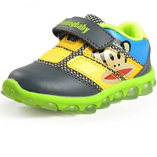 【Hostingbaby小寶當家】X5123灰綠色閃燈大嘴猴童鞋男童學步鞋軟底寶寶鞋春秋女童兒童運動鞋