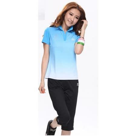 【Fayette 費伊特】sporty 女款翻領polo衫 + 七分運動褲 (藍色)