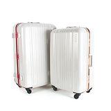 MOMJAPAN 日本品牌 25吋 亮彩系列 鋁框鏡面海關鎖旅行箱 玫瑰紅 MF2080-25-RD